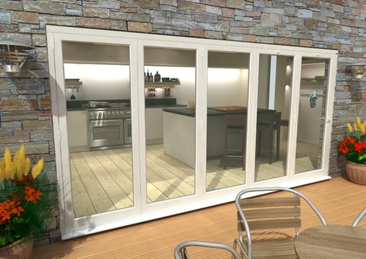 Part Q 4800mm ( 5 + 0 ) White Aluminium Bifold Doors - Climadoor Image