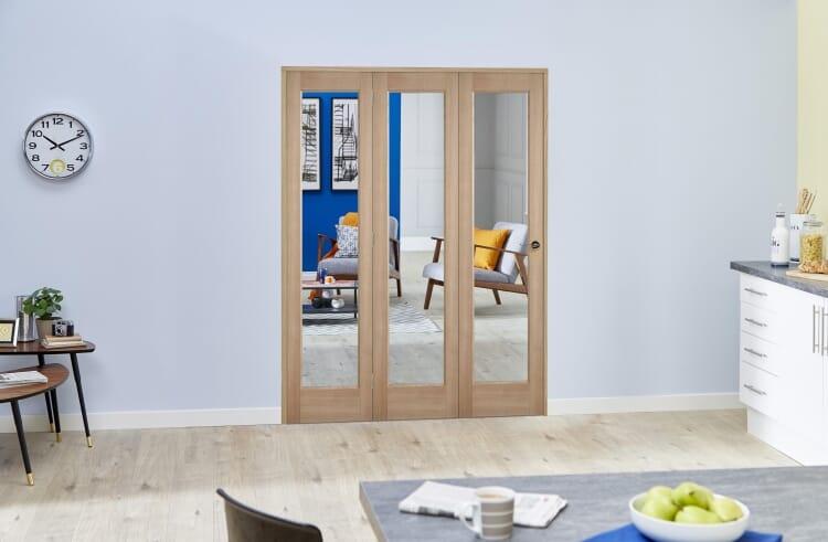 Slimline Glazed Oak Prefinished Roomfold Deluxe ( 3 X 419mm Doors ) Image