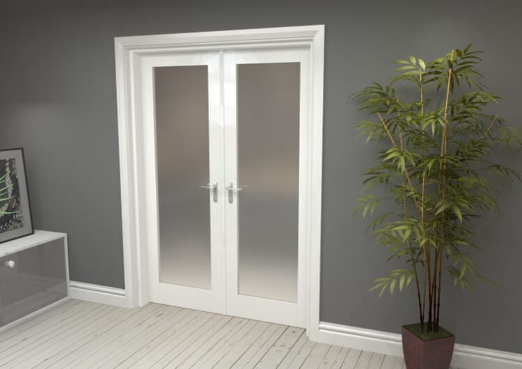 """Obscure White French Door Set  - 27"""" Pair Image"""