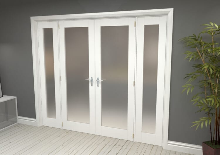 "Obscure White French Door Set  - 24"" Pair + 2 X 15"" Sidelights Image"