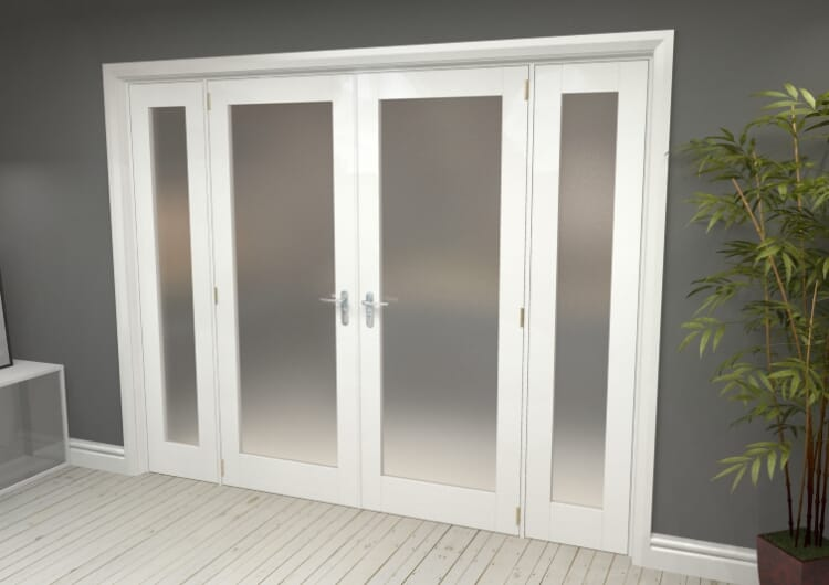 """Obscure White French Door Set  - 30"""" Pair + 2 X 15"""" Sidelights Image"""