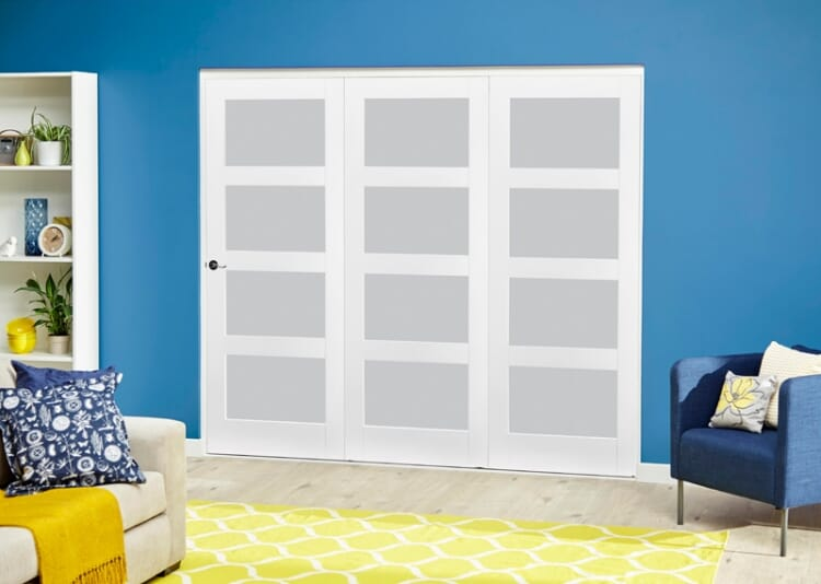 White 4l Frosted Roomfold Deluxe ( 3 X 762mm Doors ) Image