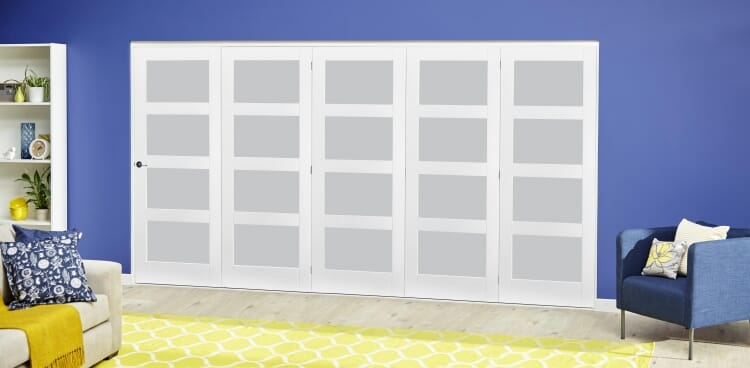 White 4l Frosted Roomfold Deluxe ( 5 X 610mm Doors ) Image