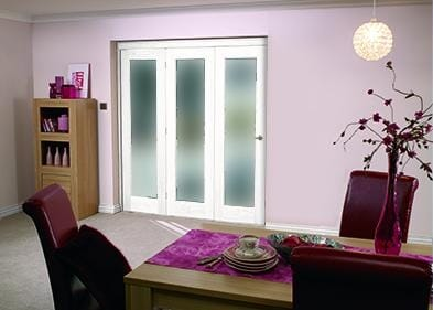 """White Bifold 3 Door System ( 3 X 21"""" Doors ) Frosted. Image"""