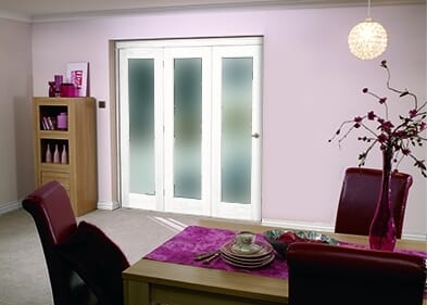 """White Bifold 3 Door System ( 3 X 27"""" Doors ) Frosted. Image"""