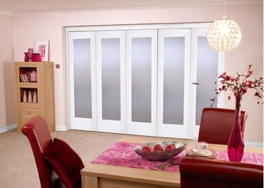 """White Bifold 5 Door System ( 5 X 24"""" Doors ) Frosted. Image"""