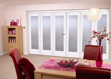 """White Bifold 6 Door System ( 3 + 3 X 27"""" Doors ) Frosted. Image"""