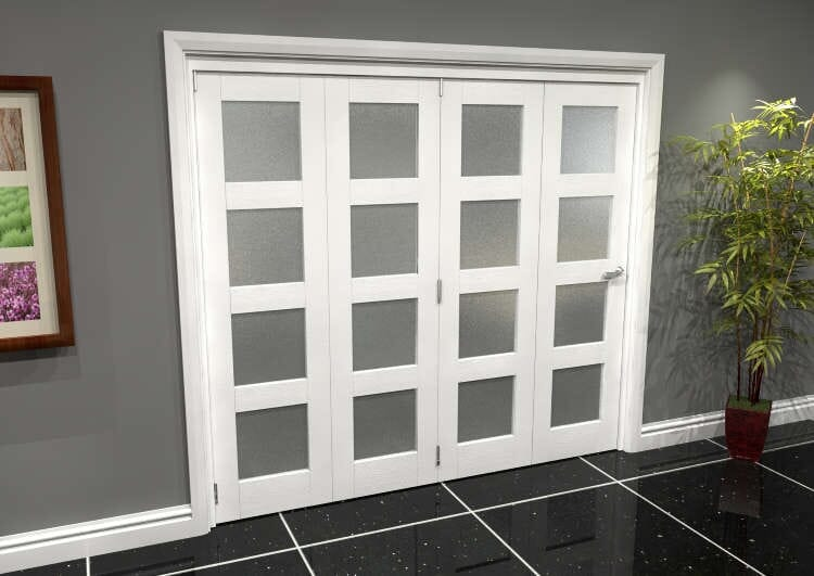 White Frosted 4l Roomfold Grande 2400mm (8ft) 4 + 0 Set Image