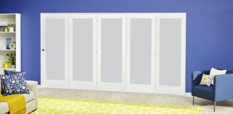 White P10 Frosted Roomfold Deluxe ( 5 X 610mm Doors ) Image