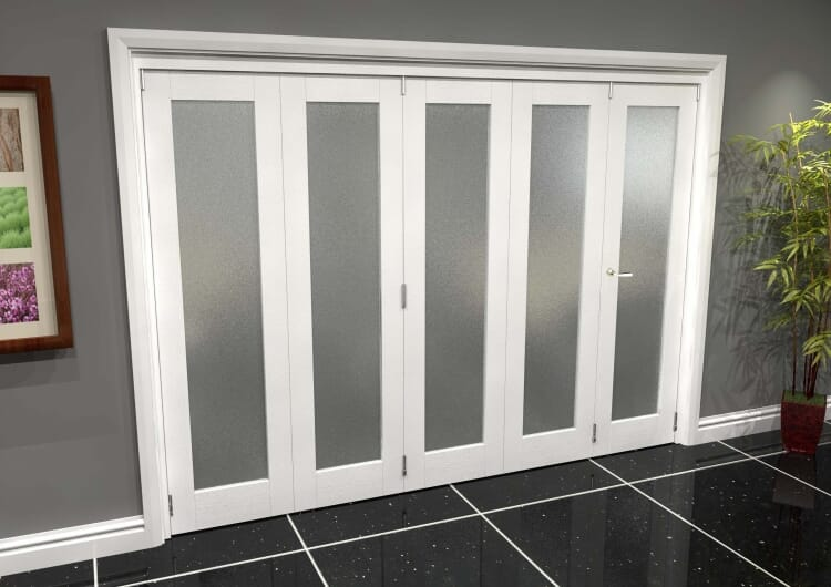 White P10 Frosted Roomfold Grande 3000mm (10ft) 4 + 1 Set Image